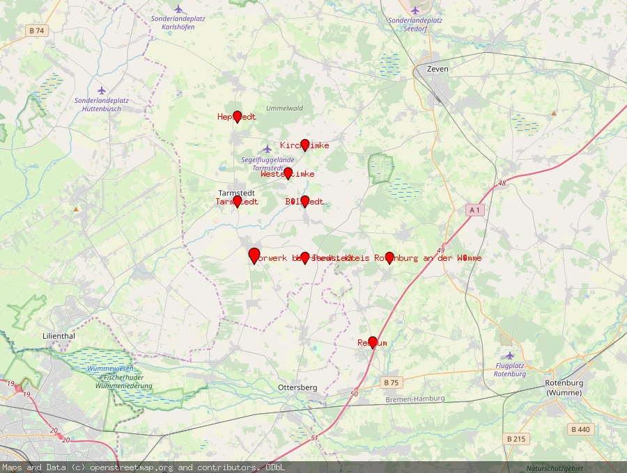 Landkarte von Wilstedt, Niedersachsen